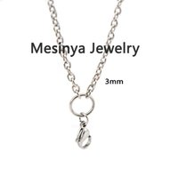 """Wholesale Stainless Steel O Ring Chain - 18"""" +2"""" prolong 316L stainless steel lobster claw 3mm width O ring chain necklace for floating glass locket essential oil diffuser locket"""