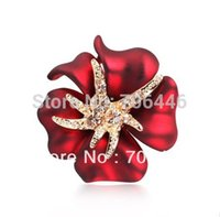 Wholesale Enamel Starfish - Gold Tone Crystal Diamante Red Enamel Flower Brooch with Starfish Xmas Pins Small Size