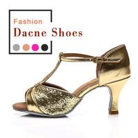 zapatos de salón tacón bajo al por mayor-Salón de baile de las nuevas mujeres zapatos de baile de tango latino inclinado promoción de venta negro 259