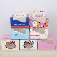 ingrosso scatole da forno bigné-ciao Finestra Kitty Cupcake Box, Cake Party baby shower Scatola Bakery west point cake box più mousse stylel box Scatole torta con manico