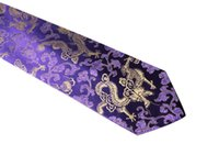 Wholesale Purple Silk Wide Ties - Free Shipping,Business, Silk, Tie, Wedding Tie,Chinese Dragon, Chinese Characteristics,New, Blue Purple,,