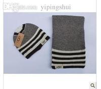 Wholesale Female Suit Fashion - Wholesale-Hat scarf two-piece female fashion winter scarf hat suits female leisure female striped scarf