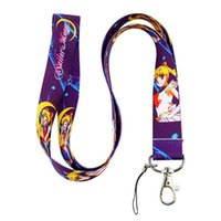 Wholesale cell phones pdas - 2014 new arrive 30 pcs Sailor Moon colorful neck Lanyard Cell Phone PDA Key ID long strap