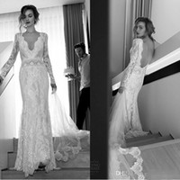 Wholesale Wedding Dress Vintage Fitted - Lihi Hod 2016 Sexy Long Sleeves Lace Wedding Dresses Sheath Deep V Neck Backless Vintage Fitted Brides Dresses Custom Made