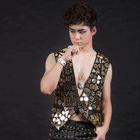 Wholesale dj wearing - Fashion Stage Wear Vest for Men with Sequins DJ Show Singer Dancer Clothing Cotton Fabric Best Performance Costume DH-029