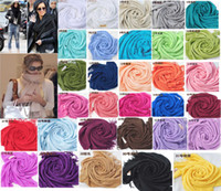 Wholesale Hot Cashmere - hot item Pashmina Cashmere Silk Solid Shawl Wrap Unisex Long Range Scarf Women's Girls Ladies Scarf Pure 40 Color