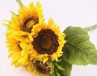 grandes flores decorativas al por mayor-Nuevo diseño Artificial Sun Flower 1set = 7 Jefes +4 Hojas Seda Real Touch Gran tamaño Margarita Flores decorativas para el hogar Oficina Jardín