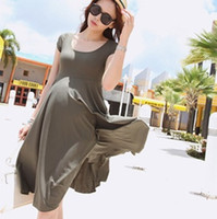Wholesale Dress For Pregnant Women Summer - 2016 Summer New Fashion Modal Cotton Short-Sleeved O-Neck Maternity Dresses Clothes For Pregnant Women Clothing Ropa Mujer Dress