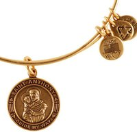 Wholesale Anthony Bangle - Original alex and ani St. Anthony bangle Antique gold silver Expandable Wire copper man and women Meaning bracelet Christmas gifts