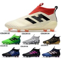 Wholesale Leather Man S Boots - 2018 Drop shipping ACE 17+ PureControl FG Soccer shoes NEW arrival Men's Soccer boots cheap Performance Male ace 17 soccer cleats football s