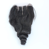 Wholesale way closures resale online - 7A Lace Closure x4 Burmese hair Loose Wave Human Hair Top Lace Closures Pieces With Bleached Knots Free Middle Way Part Stock