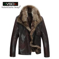 Wholesale raccoon leather fur coat - Wholesale- FreeShiping Hot Sale Fashion Men's Coats Imitation Leather Jacket Short Raccoon Fur Collar Leather Jackets Men High Quality