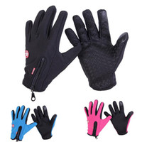 Wholesale Leather Ski Gloves Women - Windstopper Outdoor Sports Snowboard Skiing Riding Bike Cycling Gloves Windproof Winter Gloves Thermal Warm Touch Screen Gloves