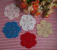 handgefertigte häkeltücher groihandel-handgemachte gehäkelte Deckchen Vintage weiß DIY Blume, Spitze häkeln Deckchen Tasse Matte Vase Matte Untersetzer 10cm / 4