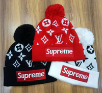 Wholesale Girls Hat Floral - Hot Top quality Winter unisex Tide brand BOX LOGO men knitted hat pom-pom skull caps hats casual hip hop beanies women ski sports gorros