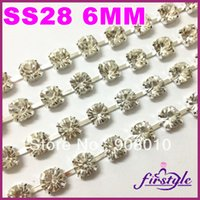 Wholesale Ss28 Rhinestone Chain - Wholesale-10yards 6mm SS28 Round Cup chain Crystal Clear Color Silver base 888 top shiny Dress crystal rhinestone cup chain,Sparse claw