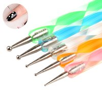 5 Pcs Nail Art Double Fin Dotting Pen Set Strass Gem Bijoux Perles Sequins Pick Up Acrylique Gel Polka Dot DIY Peinture