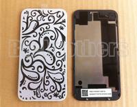 iphone 4s rückseitige abdeckung gehäuse großhandel-Schwarzes / Weiß mit Kasten-Gehäuse der Firmenzeichen-Glasbatterie-rückseitigen Abdeckung für iPhone 4g 4s CDMA reparieren neuen Wiedereinbau 1200pcs / lot