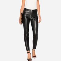 leggings sexy clubwear al por mayor-Señoras Skinny Jeans Negro Sexy Cintura Alta Cremallera Denim Jeans Leggings Slim Fit Pantalones Lápiz Nuevo Streetwear Clubwear BSF0317
