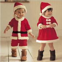 Wholesale Pink Dress Hats - 2 styles European and American new style Children Christmas Clothing boy romper Set Girls Christmas Dress +hats