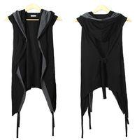 siyah hırka toptan satış-Fall-2 Yeni Erkekler Yelek Siyah bir Hood Ile Kemer Kolsuz Yaz Ince Hırka Moda Gece Kulübü Kostümleri Açık Dikiş Siyah Yelek