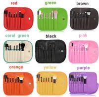 Wholesale Eye Shadow Sponge Brush - 7pcs Makeup Brushes Make Up Brush Set Kits Eyelash Blush Eye-shadow Brush Sponge Sumudger Make Up Tools PU Bag