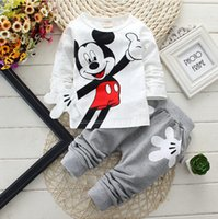Wholesale Cartoon Sport Suit Children - Spring children cartoon clothing sets boys girls Minnie cotton long-sleeve shirts+ pants baby sports suits casual kids clothes