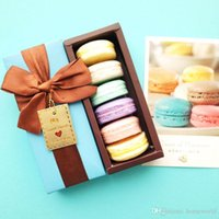 Barato Peças Decorativas Para Presentes-Caixa de presente decorativa do Natal do Handmade de France Macarons do sabão do óleo de coco 6 partes / lot Savon Coffret Idee Cadeaux