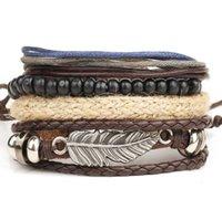 ingrosso braccialetti di legno fatti a mano-Braccialetto di corda fatto a mano a mano di nuova di zecca del braccialetto del braccialetto della corda della cera della corda di perline di alta lega di angelo della lega multipla