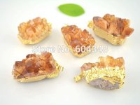 Wholesale Crystal Geode Pendant - crystal luxury Crystal Shiny 5 pcs Natural Topaz Quartz Geode Druzy Pendant, Gold plated Topaz Crystal Drusy Gem stone Pendants for charm ne