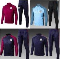 Wholesale Full Outfits - 2017 2018 new MEN MC City Tranning KITS outfits Tracksuits Jacket Pants DE BYUYNE KUN AGUERO 17 18 training suit chandal sportswear