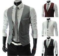 Wholesale Men Korean Red Blazer - Men Vests Outerwear Groomsmens vest 2015 Korean Slim Fit Stylish Short Coats Suit Blazer Jackets Coats wedding Mens V-neck vest