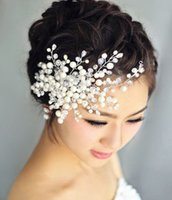 Wholesale Hairbands For Women Brides - 2016 Wedding Tiara Comb Handmade Headdress with Pearl Wedding Hair Accessories Flower Bride Pearl Hair dinner Party for Women