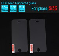 Wholesale Glass Screen Protector Iphone5 - Iphone5 5s Tempered Glass Screen Protector for iphone 4 4s Film 0.26mm 2.5D 9H Explosion proof without retail box 200 PCS