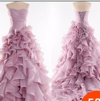 Wholesale Strapless Ball Gown Cathedral Train - 2015 light purple white bride ball Gown Wedding Dresses with strapless Cathedral Train Sleeveless Luxury ruffle pleats Wedding dress