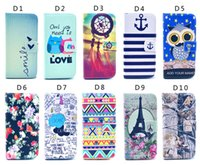 Wholesale S4 Kickstand Case - Owl Flower Elephant Tower 3D Printed flip Wallet Leather Pouch stand Case For For iphone 5S 5C 6S i6 plus S4 S5 S6 edge note4 80 kinds style