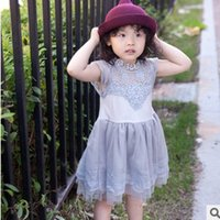 Wholesale Dress Childen - New 2015 Girl Dresses Korean Lace Puff Sleeve Kids Ball Gown Dresses Tulle Childen Tutu Dress Girls Party Dress Kid Clothes CX068