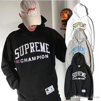 Wholesale Japanese Women Cotton Tops - 17SS Men Women Letter Embroidery Pullover Hoodies Good Quality Cotton Sweatshirts Japanese Style Teenager Streetwear Tops Free Shipping