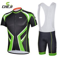 Atacado-3D GEL acolchoados calças justas umidade Wicking Ciclismo Jerseys Bib Shorts Set For Men Verde Black Red Mountain Road bicicleta Curtas Suits
