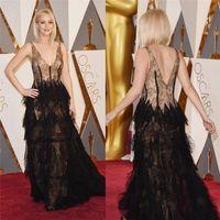 Wholesale Jennifer Lawrence Oscars - 2016 Oscars Jennifer Lawrence Black Evening Dresses V Neck Lace Tiered Prom Gowns Floor Length Red Carpet Celebrity Dress