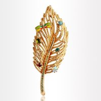Wholesale Dragonfly Brooch Mixed - Fashion Lovely Dragonfly Clothes Sweater Accessories Alloy Simple Delicate Crystal Brooches Colored Leaf Feather Shape Brooch