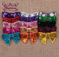 """Wholesale Crafts Glitter Ribbon - Nishine 1.6"""" Mini Glitter Sequin Bows DIY Hair Bowknot For Sewing Craft Headwear Hair Accessories(Color:15 Colors)"""