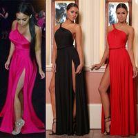 Wholesale Drop Ship Boho Dress - 2017 Women Celebrity Maxi Dress One Shoulder Split Party Prom Dress Long Summer Boho Dresses Clubwear Free Shipping HZ029