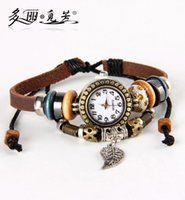 Wholesale Owl Dresses For Women - Wholesale-Luxury Women Dress Leather Watch Casual Leaf Wing Butterfly Owl Dolphin Charms Pendant Bangle Watch Bracelet For Girls 19 Style
