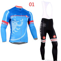 Wholesale Cycling Sleeve Warmers - Men Team Pro Cycling Jersey Thermal Fleece Long Sleeve Cycling Clothing Winter Warm Outdoor Running Clothing C001