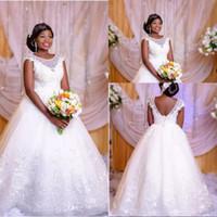 Wholesale Dress Bride Boat - White Princess Lace Wedding Dresses 2018 Sexy African Sheer Boat Neck Backless Plus Size Gowns Bride Dress Vestido De Noiva