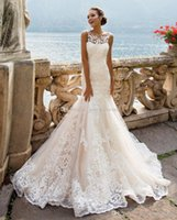 Wholesale Decorate Image - magnificent lace sleeveless mermaid wedding gowns 2017 Milla Nova bridal gowns with a mid-long trail decorated with tender lace
