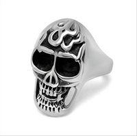 oxidized silver jewelry - Mens L Stainless Steel Black Oxidized Flamed Skull Ring Biker Jewelry Halloween Accessory Size R309