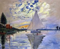 Wholesale Petit Paint - Wall decoration for office, high quality Claude Monet's hand-painted oil paintings, Sailboat at Le Petit-Gennevilliers
