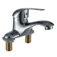 Wholesale Zinc Alloy hot and cold faucet single holder double hole wash basin faucets